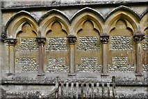 TQ1450 : Ranmore Common, St. Barnabas Church: Blind arcading on the west wall 2 by Michael Garlick