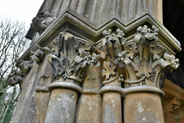 Ranmore Common, St. Barnabas Church: South porch left capital