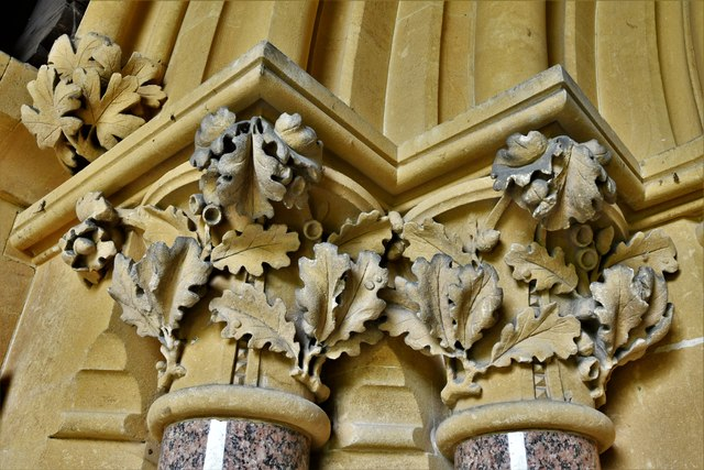 Ranmore Common, St. Barnabas Church: South door left capital