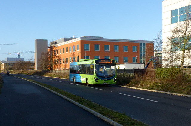 Bus on the Busway to Cambridge North