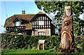 ST7182 : Ridge Lodge & Wellingtonia Tree Sculpture, Station Rd, Yate, Gloucestershire 2019 by Ray Bird