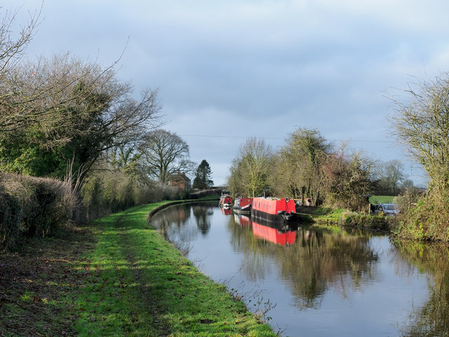 Moored boats on Shropshire Union Canal
