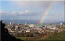NT2774 : Rainbow over Easter Road Football Ground by Graeme Yuill