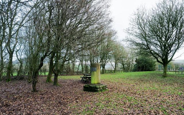Commemorative pillar at Tittesworth Reservoir
