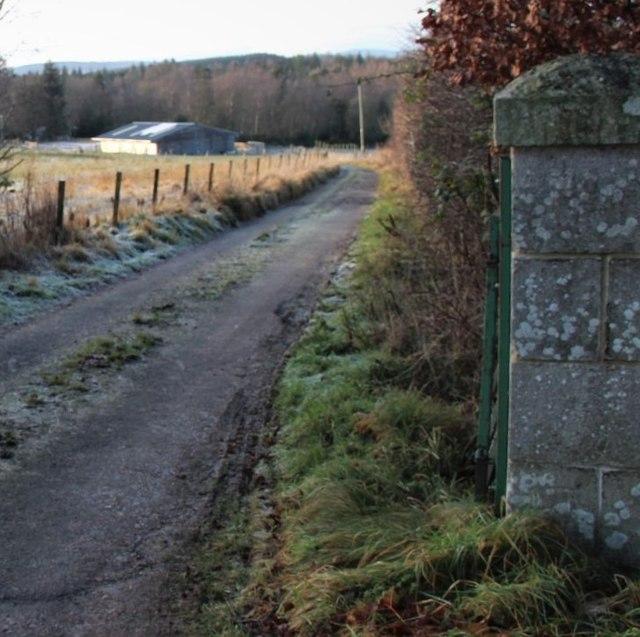 Granite gatepost in Durris Estate