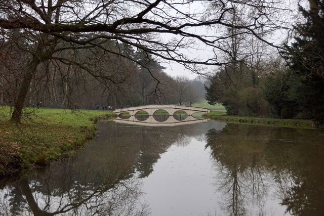 The five-arched bridge over the Lake at Painshill, Cobham