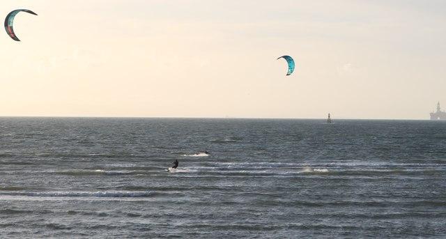 Windsurfers in Elie Harbour
