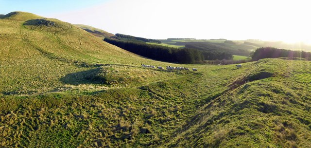North ramparts of Camp Knowe hillfort beneath Clennell Hill