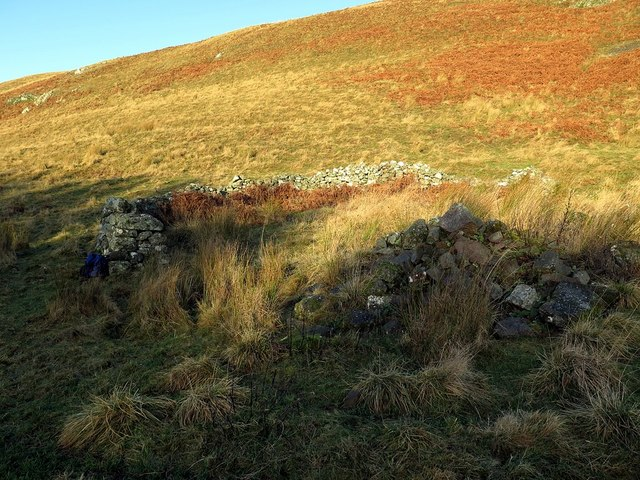 Partly demolished sheepfold below Clennell Hill