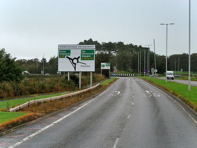 A79 approaching Monktonhead Roundabout