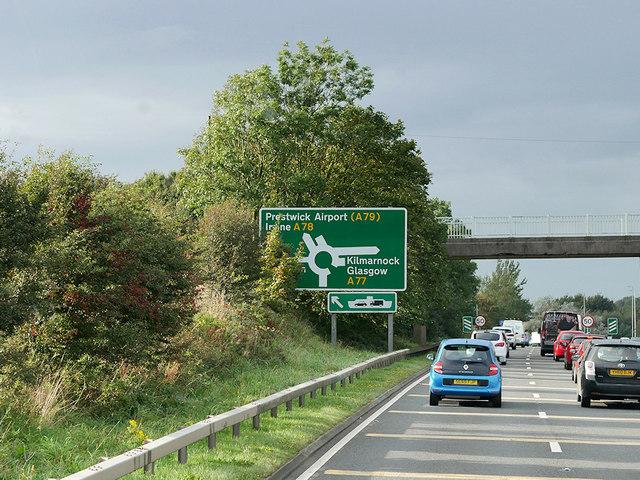 Bridge over the A77 near Monkton