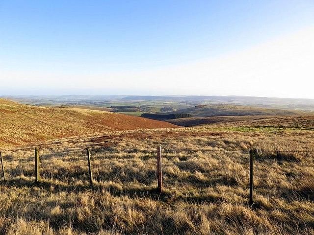 View east above Hazeltonrig Burn