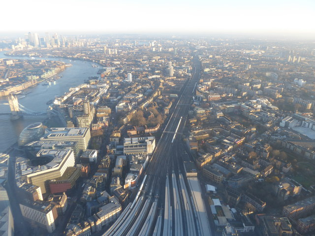 The lines out of London Bridge from The Shard