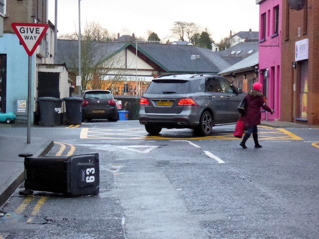 Overturned bin along Campsie Avenue, Omagh