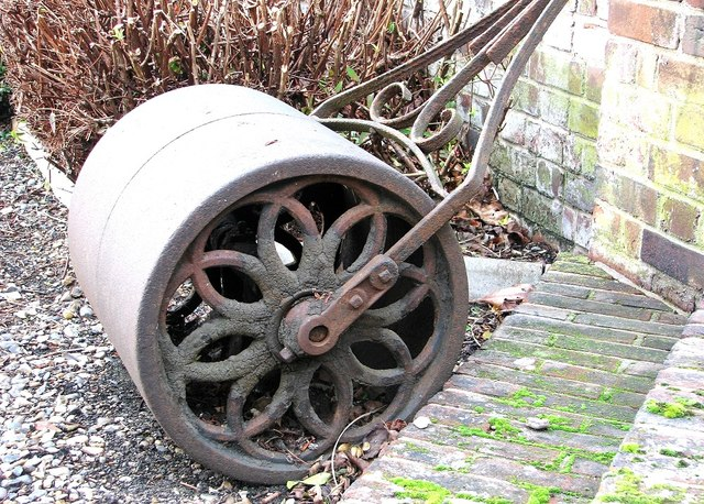 The Great Hospital - old lawn roller by Suffield Court