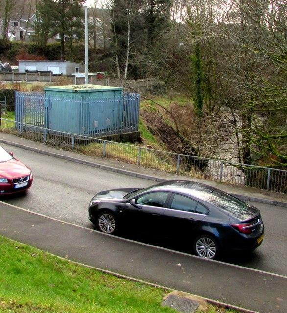 Gas installation on a bank of a stream, Maes Mawr Road, Crynant