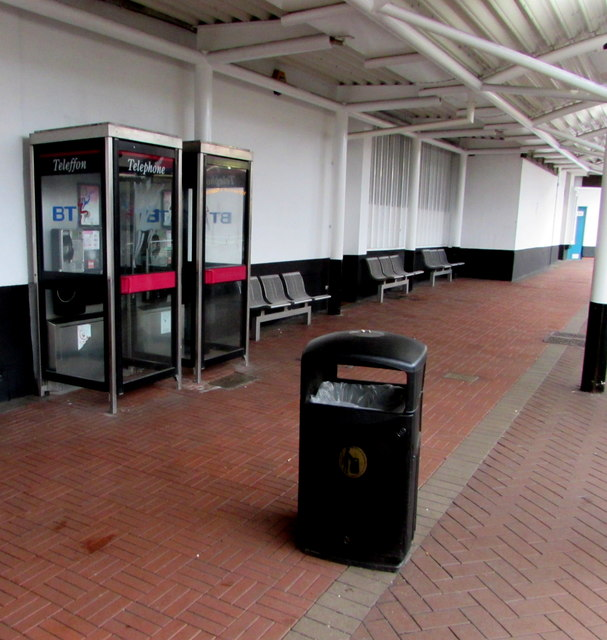 Two BT phoneboxes in Cwmbran bus station