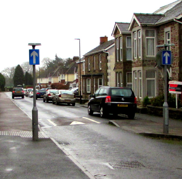 One-way signs and a speed bump, Oxford Street, Lydney