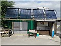 SY9978 : Solar water heating at Tom's Field Campsite, Langton Matravers by Phil Champion