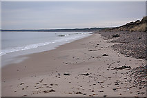 NJ0664 : Beach east of Findhorn by Anne Burgess