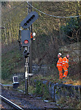 NT9953 : Signal maintenance at Berwick Railway Station by Walter Baxter