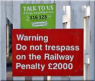 NT9953 : Signs at Berwick Railway Station by Walter Baxter
