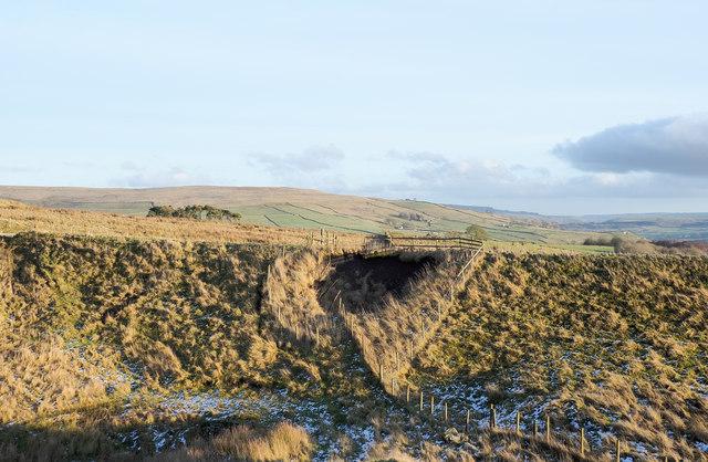 Minor collapse on old railway embankment