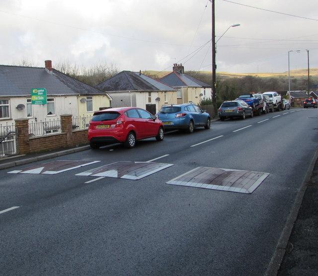 Three bumps/humps across the A4109 Dulais Road, Seven Sisters