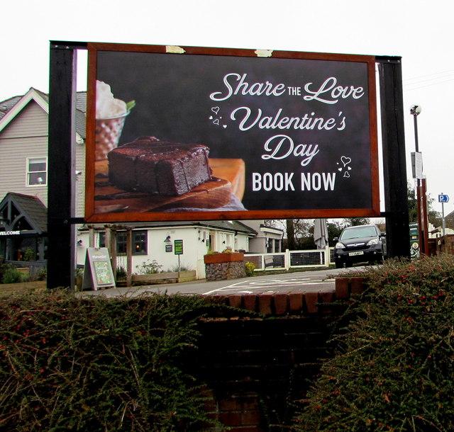 Valentine's Day 2020 advert outside Harvester Borderer, Malpas, Newport