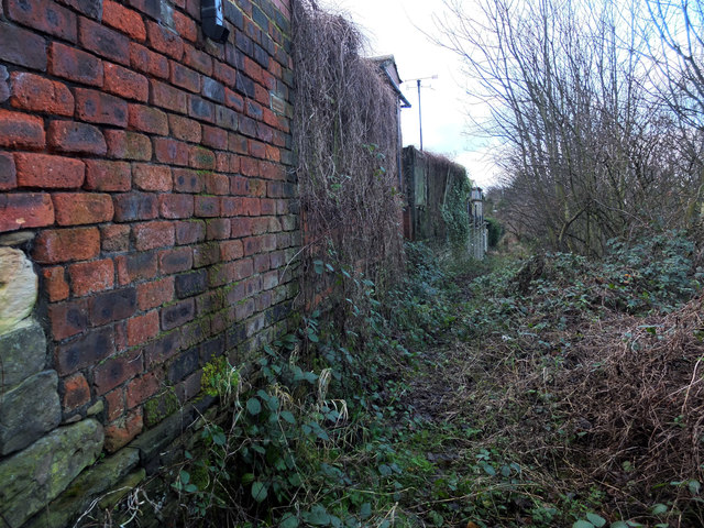 Path behind houses on Hindley Road leading to the Spen Valley Greenway