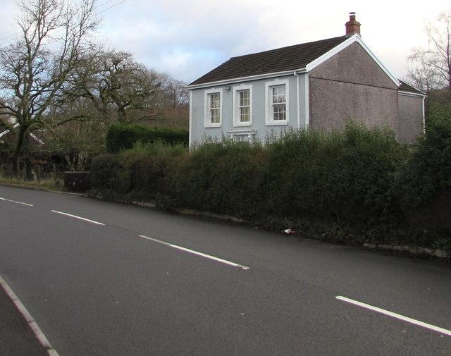 Detached house behind a hedge, Dulais Road, Seven Sisters