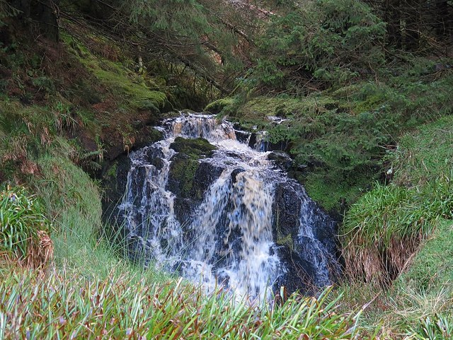 Upper waterfall at Lindhope Linn