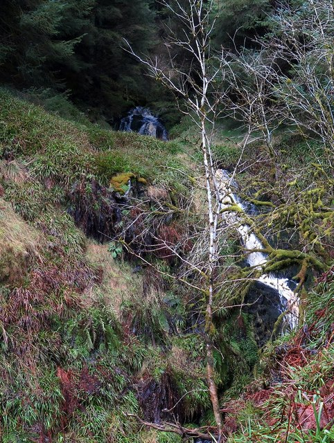 The two waterfalls at Lindhope Linn