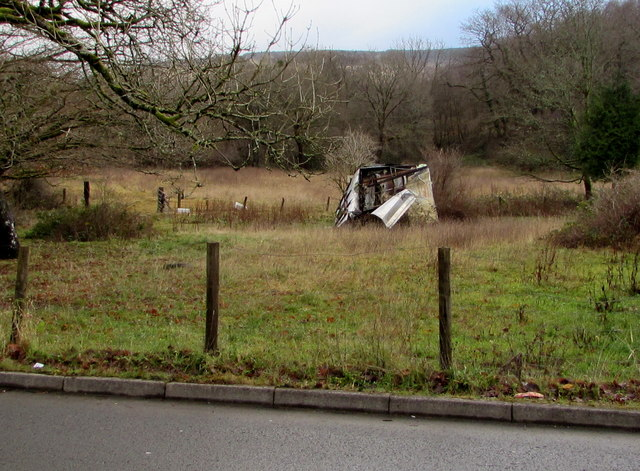 Tumbledown building in a Seven Sisters field