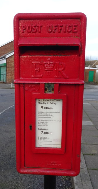 Close up, Elizabeth II postbox on Church Lane, Thorngumbald