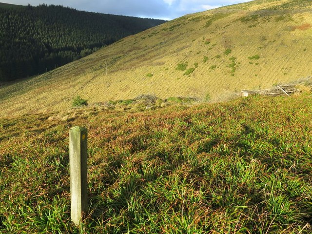 Footpath sign above Dry Sike on Wether Hill