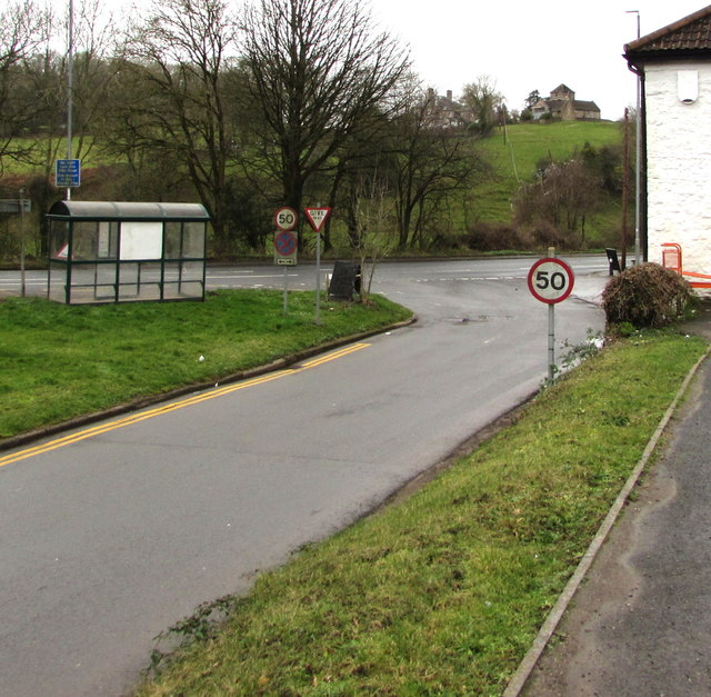 Start of the 50 zone, Pike Road, Penhow