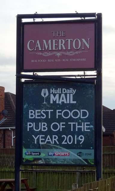 Sign for the Camerton public house
