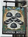 SU9744 : The Leathern Bottle Pub Sign in Farncombe, Surrey by John P Reeves