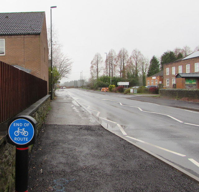 End of cycle route sign, High Street, Lydney