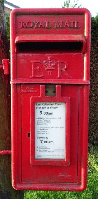 Close up, Elizabeth II postbox on Main Street, Burstwick