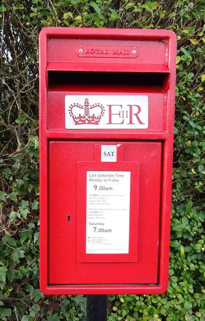 Close up, Elizabeth II postbox on Weghill Road, Preston