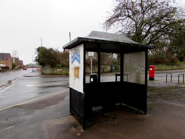 Bus shelter on a High Street corner, Lydney