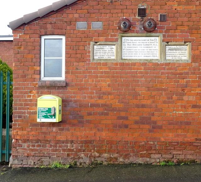 Defibrillator on the Burstwick Village Hall