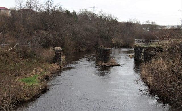 Dismantled railway bridge over Black Cart Water