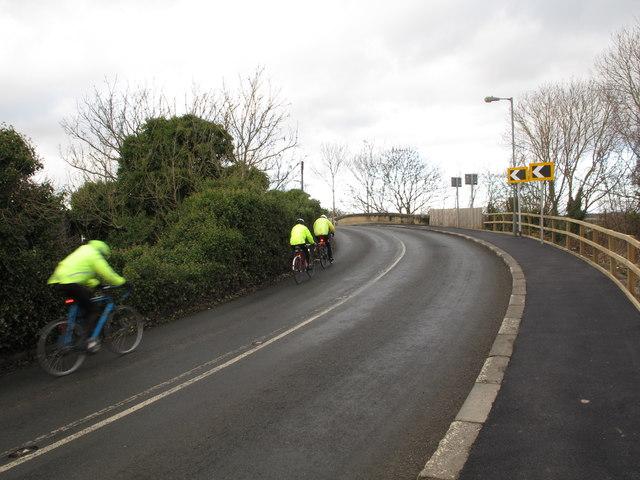 Cyclists on bridge at former Leamside station