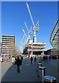 TQ3083 : King's Cross: cranes over King's Boulevard by John Sutton