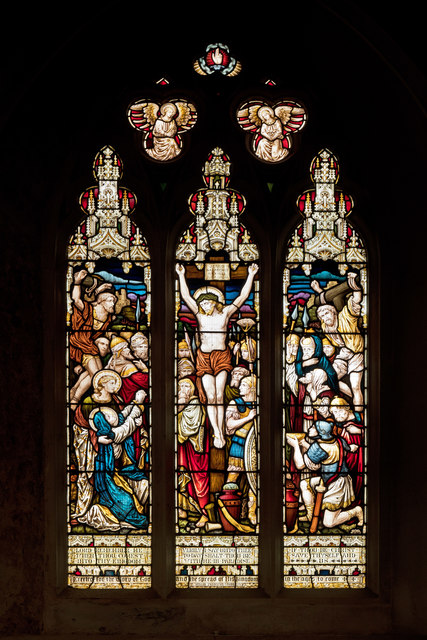 A stained glass window in the church of St Michael & All Angels, Torrington