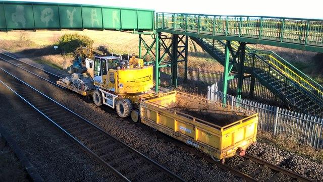 Track maintenance work on the GNGE line near Werrington