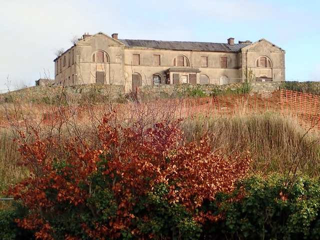 Surviving wing of the largely demolished former Downe Hospital at Downpatrick